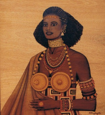 unique-staining-on-wood-tribal-woman